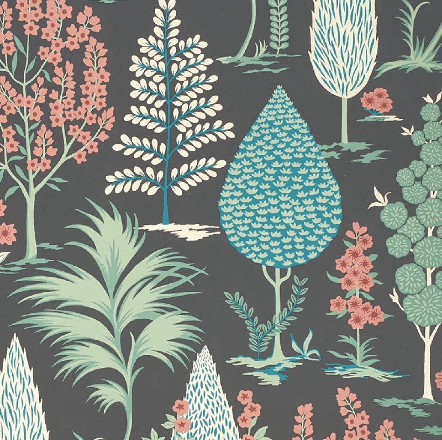 Pandora wallpaper in onyx and jade . Gorgeous and whimsical.