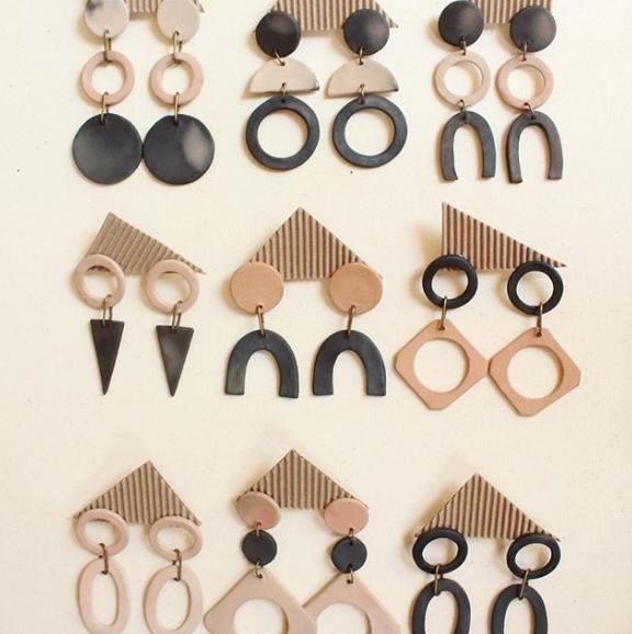Clay Earrings // Sustainable Fashion // Ceramic // Drop Earrings // Geometric Earrings