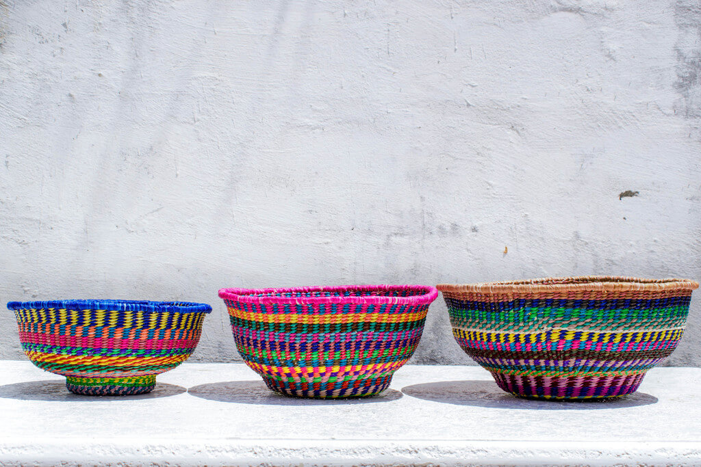 Colorful Handwoven Baskets // Bowl Set // Toquilla Straw