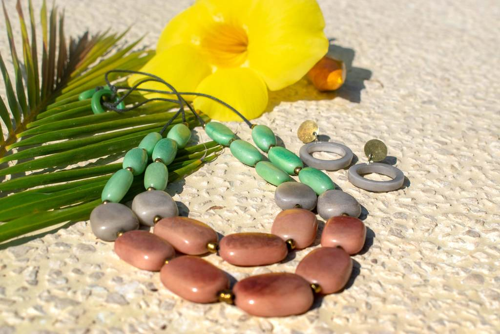 Organic Jewelry - Tagua // Ombre Necklace // Drop Earrings