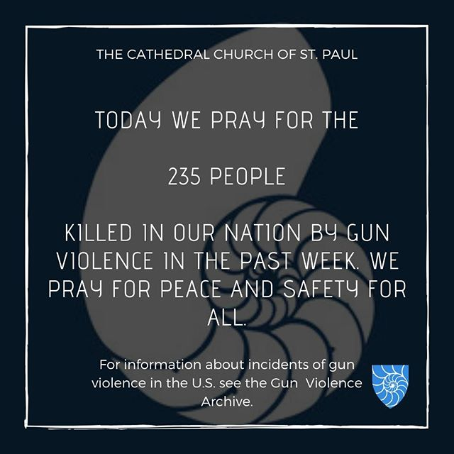 We pray for the 235 people killed in our nation by gun violence in the past week. We pray for peace and safety for the people of our nation and of all nations.