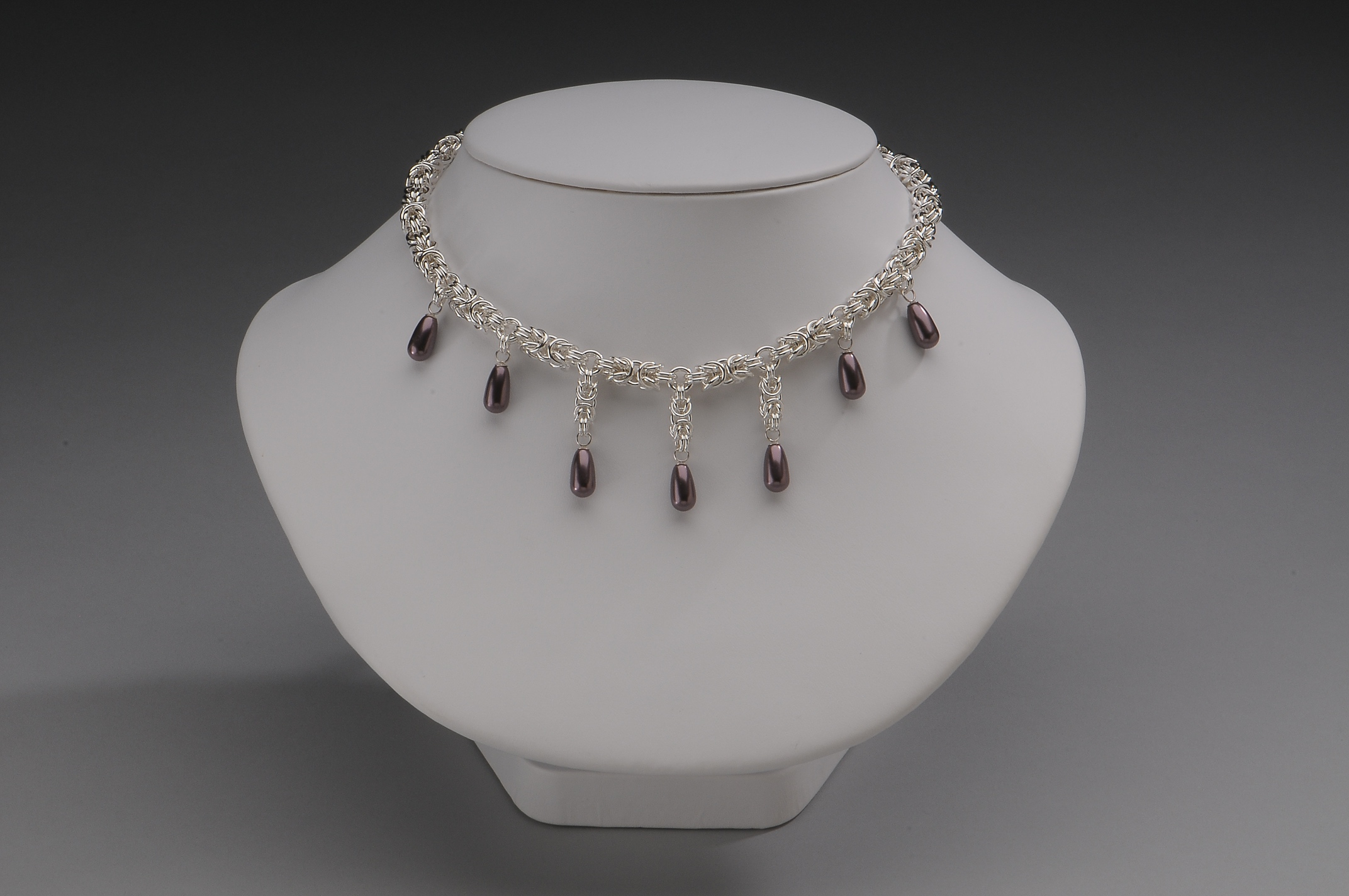 Sterling Silver Byzantine Burgundy Drop Collar