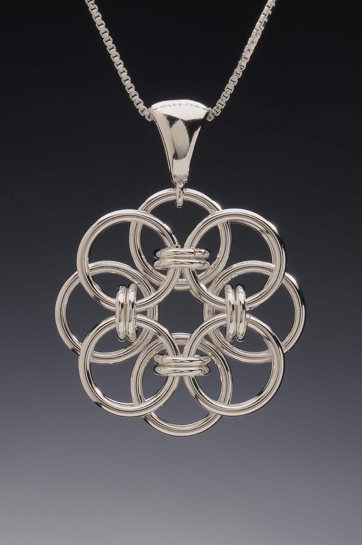 Large Sterling Silver Celtic Flower