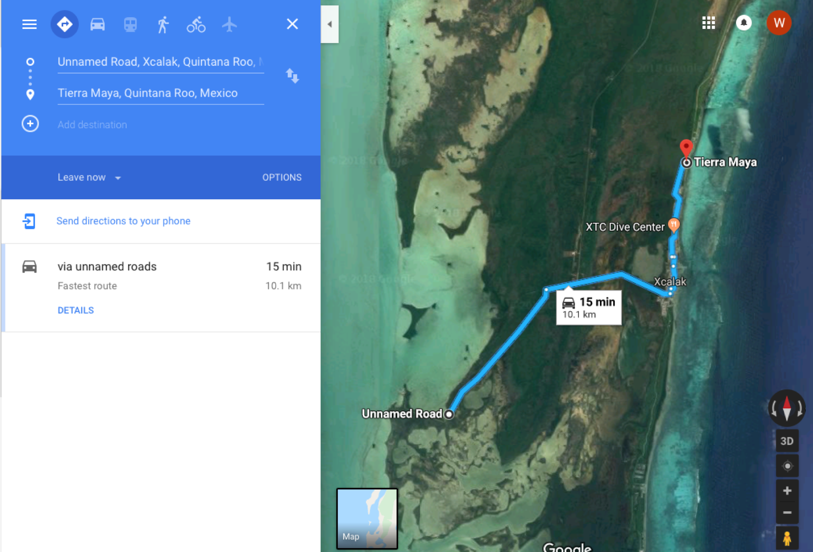 This is a 2019 Google Maps route from the Tierra Maya Hotel to where Ron's rental car was originally parked and later found on April 11, 2009. You can follow this entire route using the