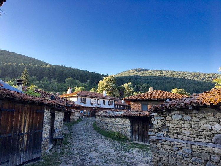 The cobblestone streets of Zheravna