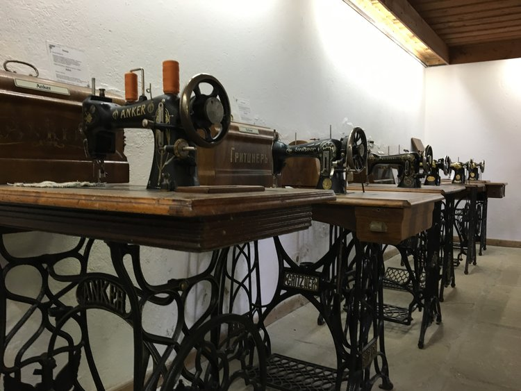 A private collection of Singer sewing machines was on view at the Art Gallery