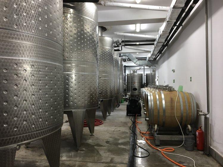 he wine vats at Orbelus Winery