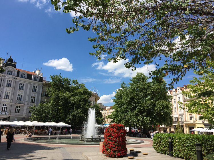 The public squares are filled with cafes and are perfect for strolling and relaxing