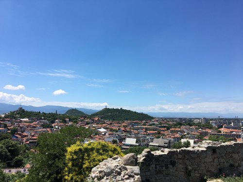 View of the city and the Rhodope Mountains from Nebet Tepe