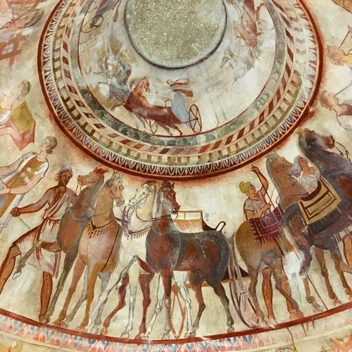 Frescoes inside the Thracian Tomb of Kazanluk