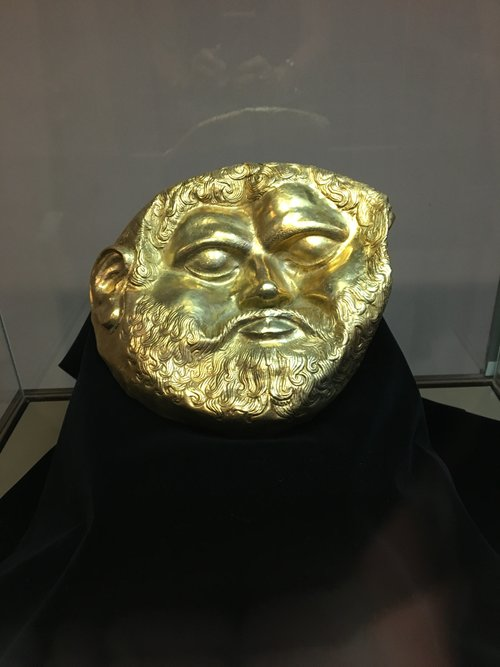 Gold bust of a Thracian king at the History Museum Iskra