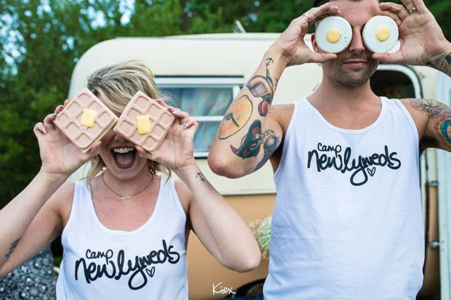 "CUSTOM // How many times in your life have you said, ""Ya, we need a T-shirt that says that!"" Well, dudes, I am here to make your dreams come true 🖤✌🏼 . . . www.wearsyourhead.com . . MINI CREATIVE SHOOT CREW! Concept/Photos @kiexfoto Styling @bubblesandbash  Hair @steph.wall  Makeup @steph.wall  Shirts @wearsyourheadat  Paper details @ladyowldesign  Couple💕 @kdaro4 @honeydill  Cookies @sweetssprinkles Brew @barnhammerbrewing  Boler @vintage_val101  S'Mores Kits @folkfire . . #kiexinspiration #kiexcreative #handwriting #customshirts #glamping"