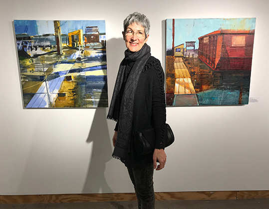 """- At the """"Real Time"""" exhibition, January 2019. National Association of Women Artists – Massachusetts Chapter. Piano Craft Gallery, 793 Tremont St., Boston, Massachusetts."""