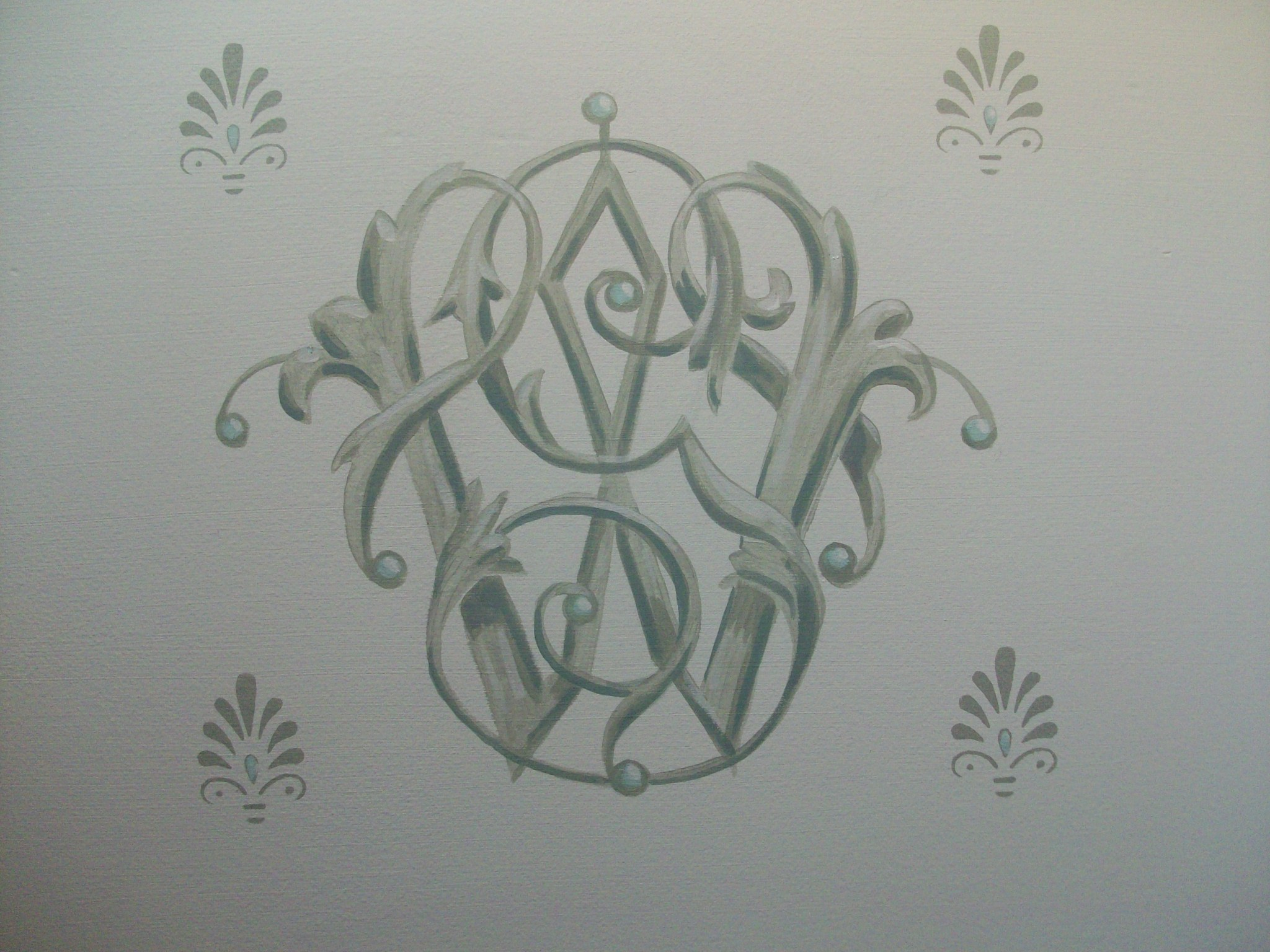 hand painted monogram, private residence
