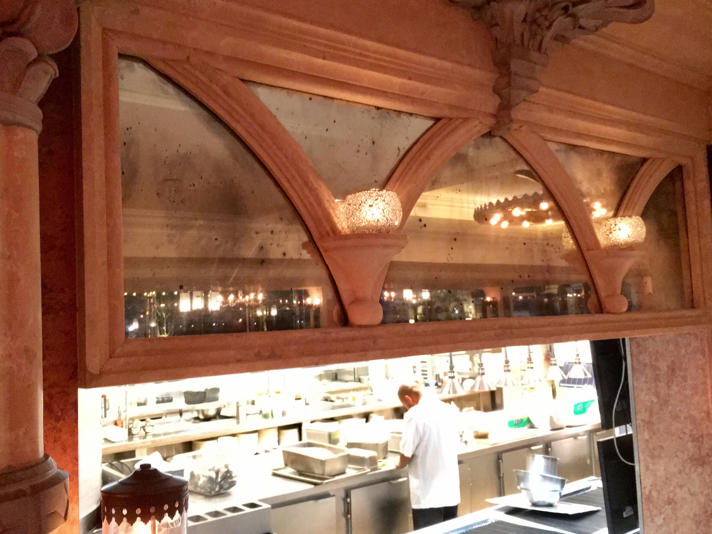 Handsilvered mirrors above open kitchen at Tavern on the Green Restaurant, NYC