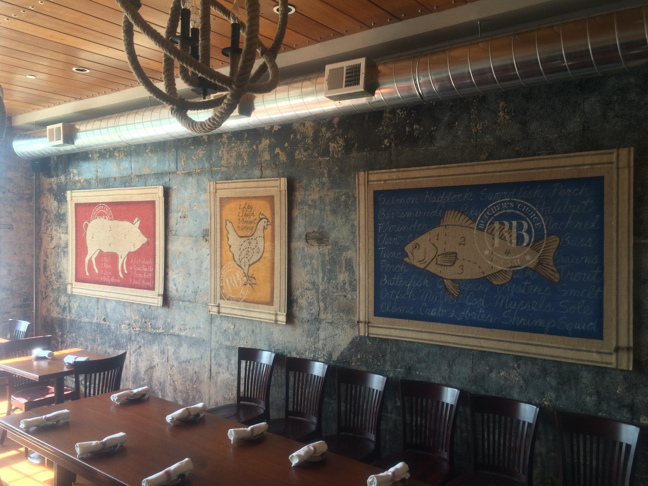 Dining room paintings at Roberts Block Restaurant Glenside PA