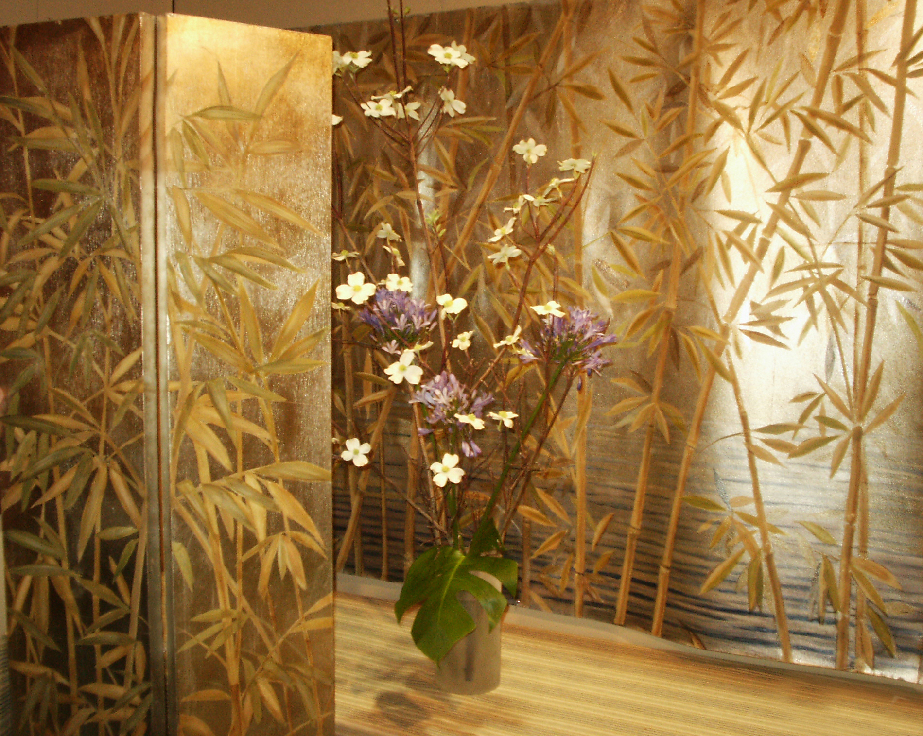 painted folding screen and canvas on metallic leaf