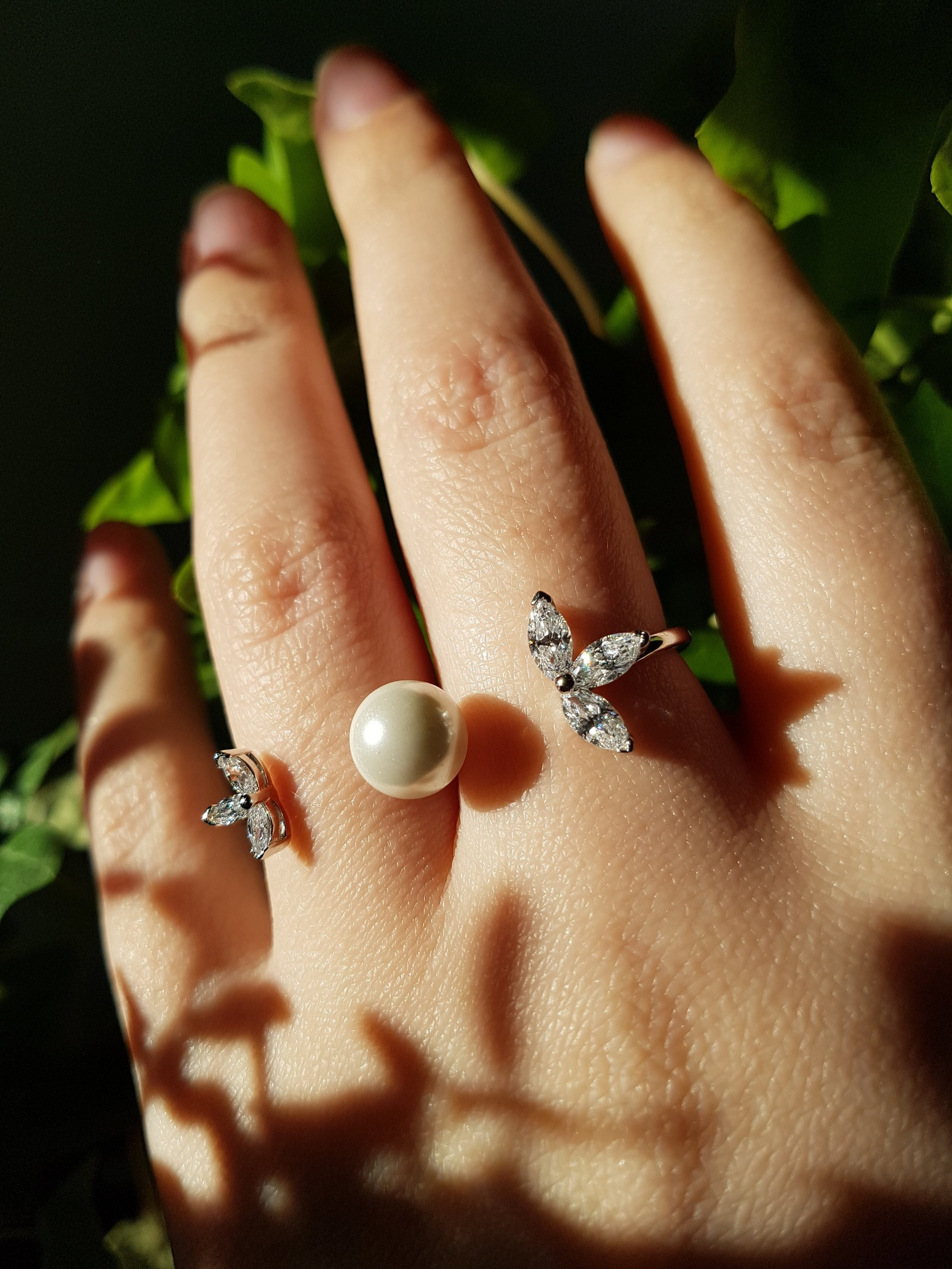 double ring pearl cz