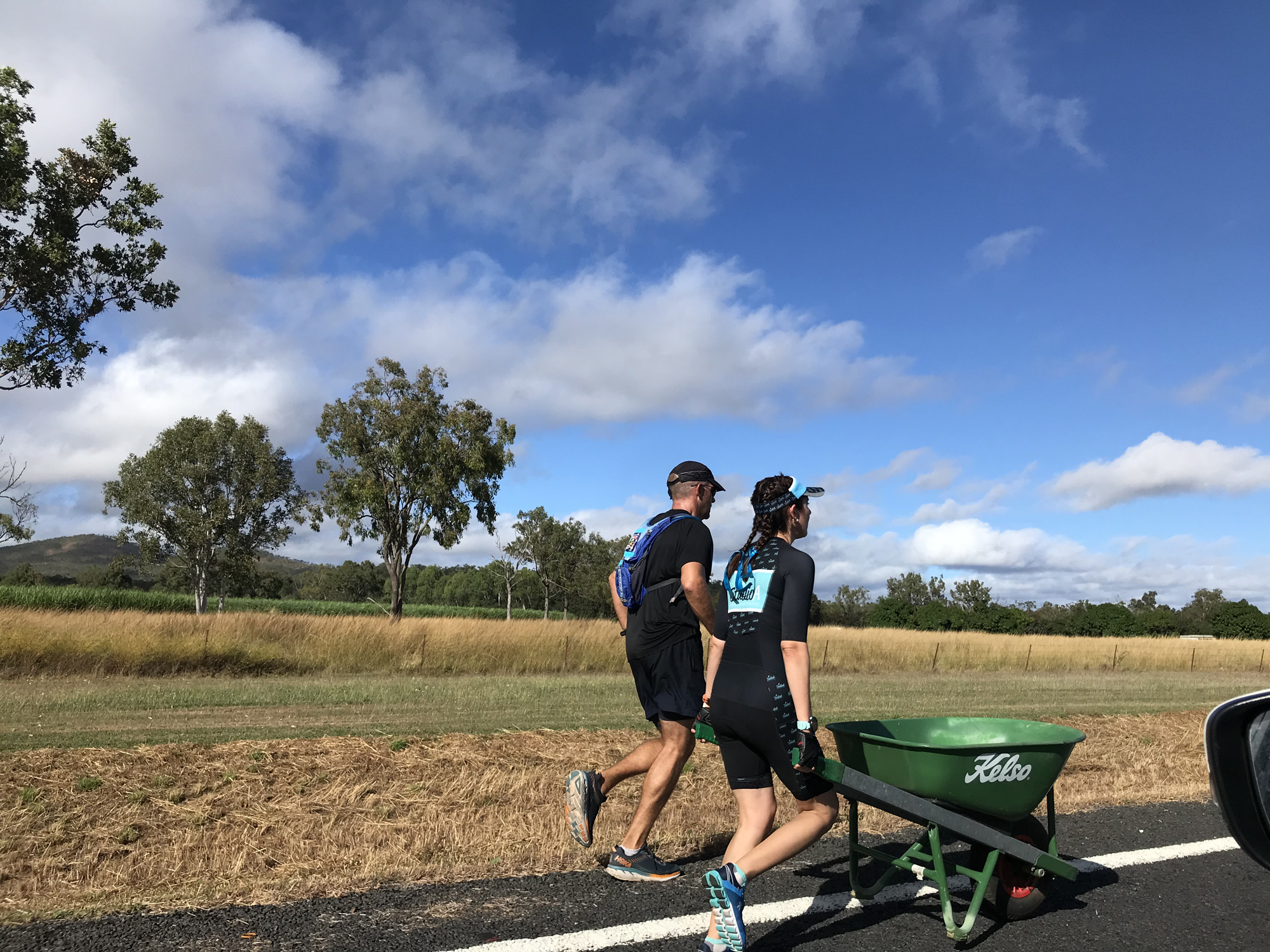 We drove alongside the  Great Wheelbarrow Race ! Mareeba to Chillagoe – 140km. The seamless team transitions were a sight to behold!