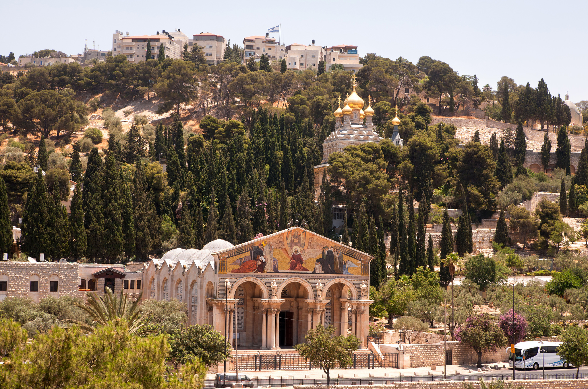 Looking at the Church of All Nations (Garden of Gethsemane) on the Mount of Olives