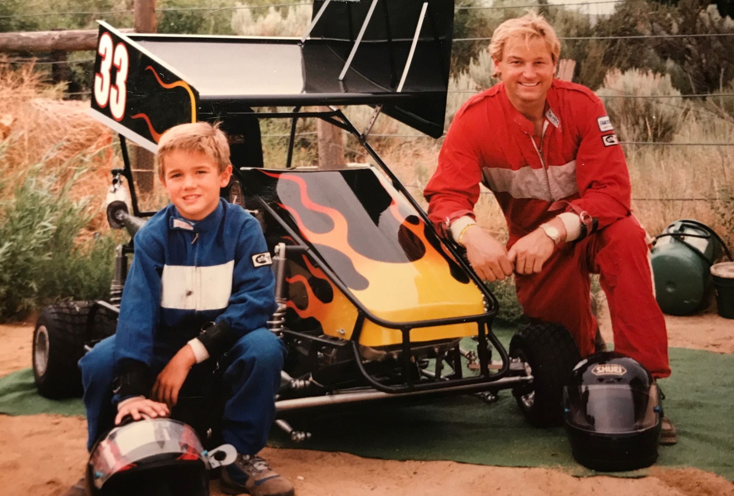Outlaw Kart Racing with his son, Harris at 8 years old.