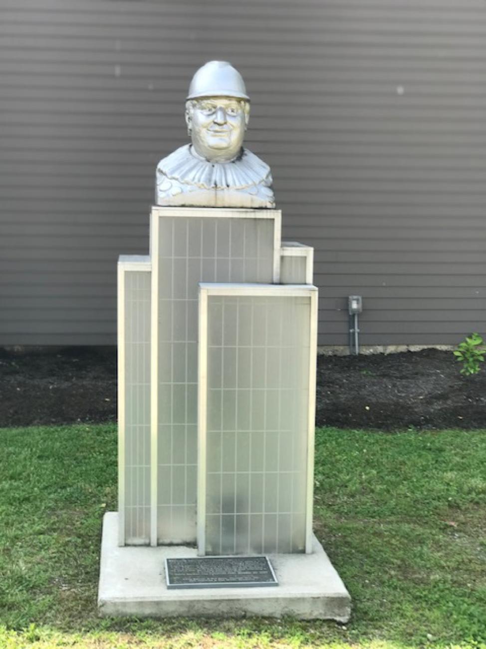 Raymond Thunder-Sky monument in front of the Hellmann Creative Center in Covington.