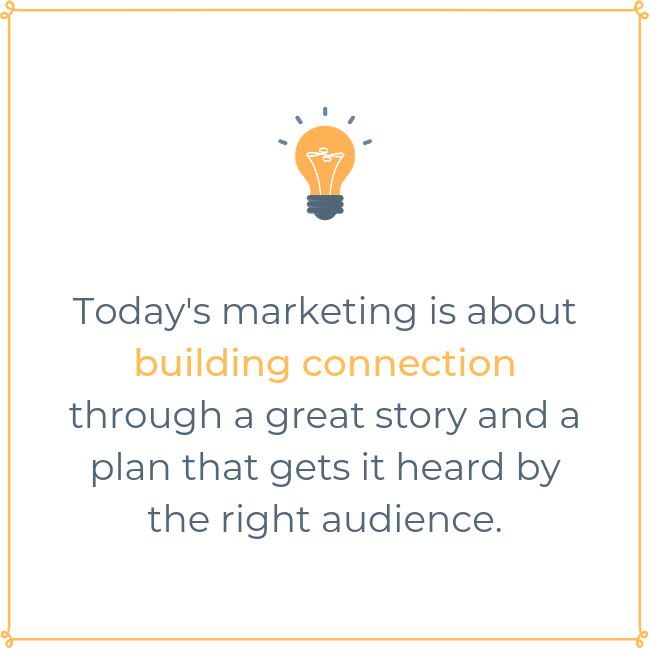 In today's market, marketing is about connection with great story and a plan to find the right audience.png