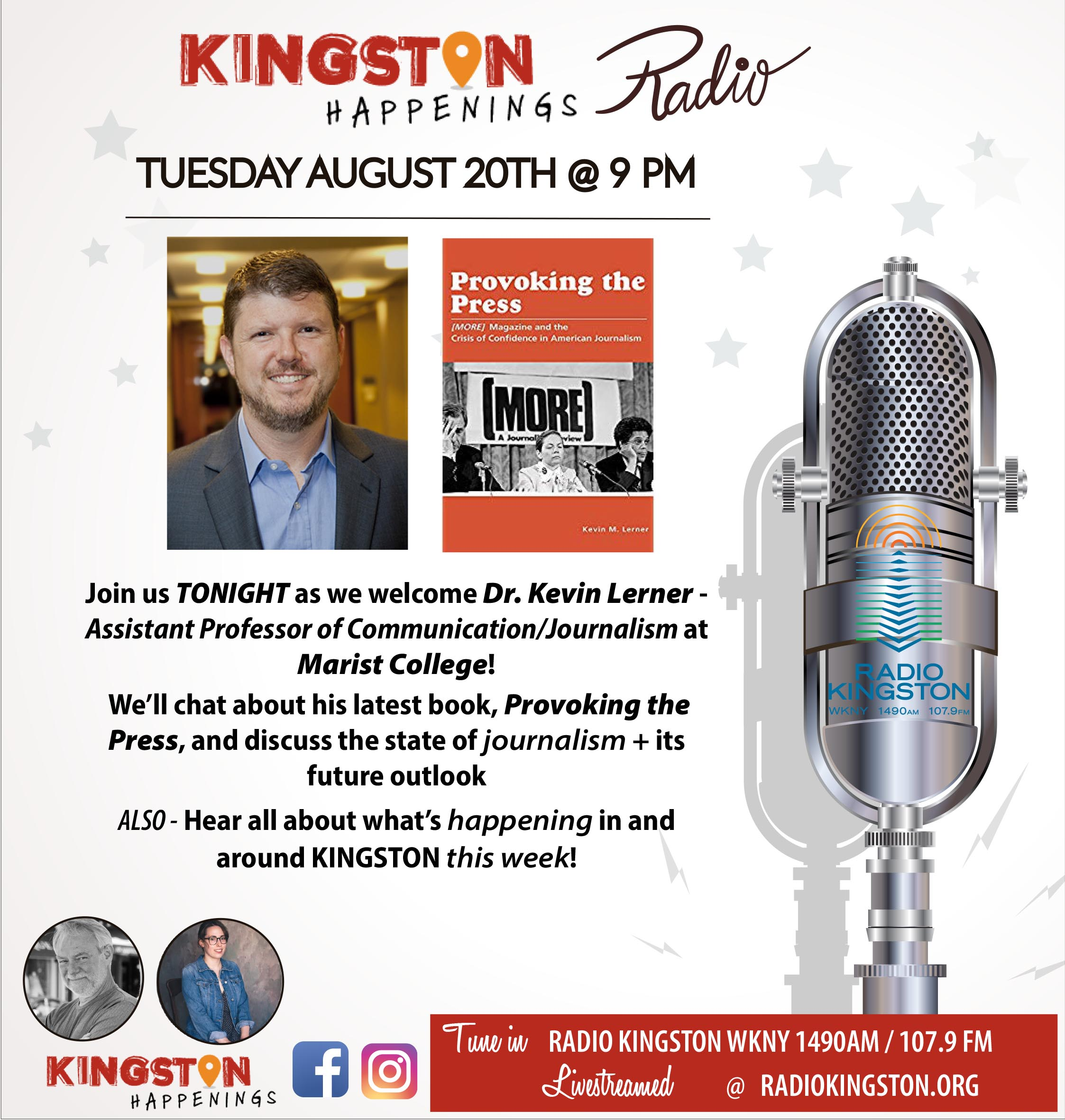 Listen to Kevin Lerner discuss  Provoking the Press  and the state of journalism on the Kingston Happenings radio show on Radio Kingston, August 20, 2019. Available now to stream anytime from their website:  https://radiokingston.org/en/broadcast/kingston-happenings/episodes/provoking-the-press-with-dr-kevin-lerner