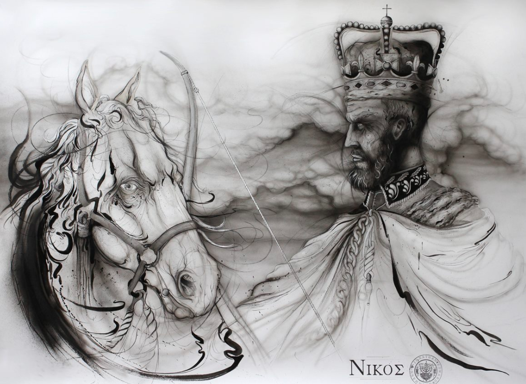 """""""nikos (conquest)""""    INK AND CHARCOAL ON PAPER  (SOLD)"""