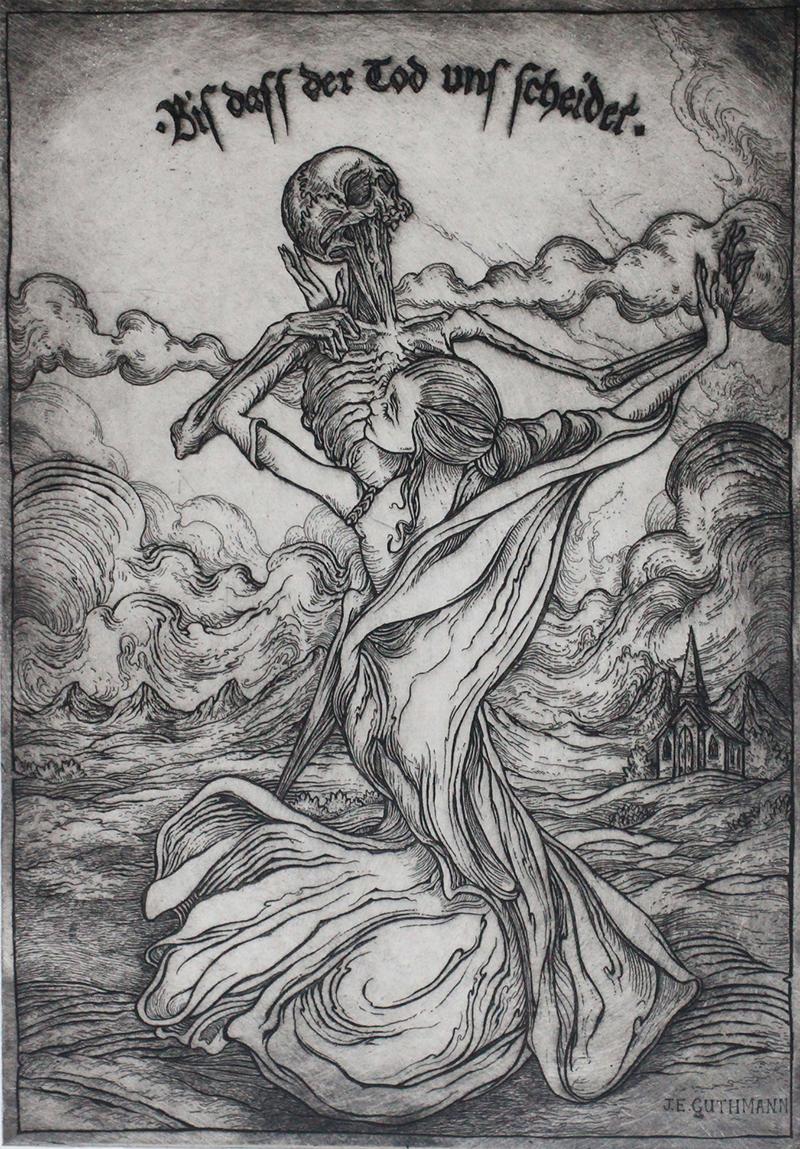 """biss dass der tod uns scheidet (til death do us part)""   etching on hahnemuhle  available in online shop"