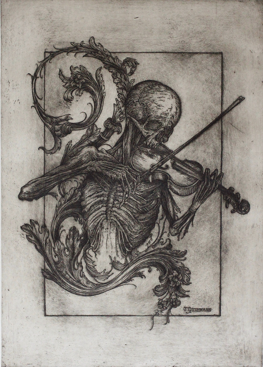 death with a violin and acanthus motif II   etching on hahnemuhle  available in online shop