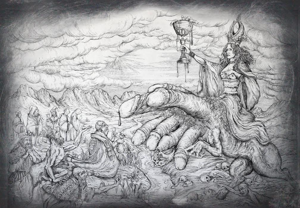 """""""the whore of babylon""""   etching on hahnemuhle 66 x 90cm  purchase enquiries through contact page"""