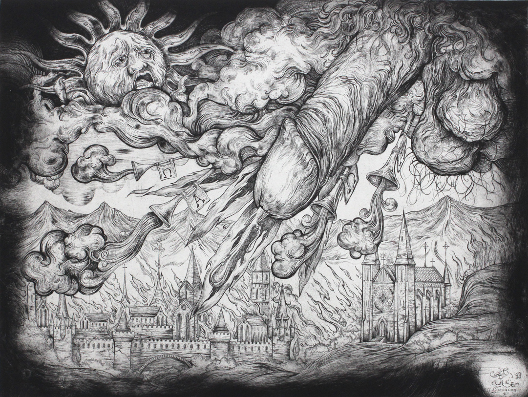 """""""The acockalypse""""   etching on hahnemuhle 56 X 76cm  purchase enquiries through contact page"""