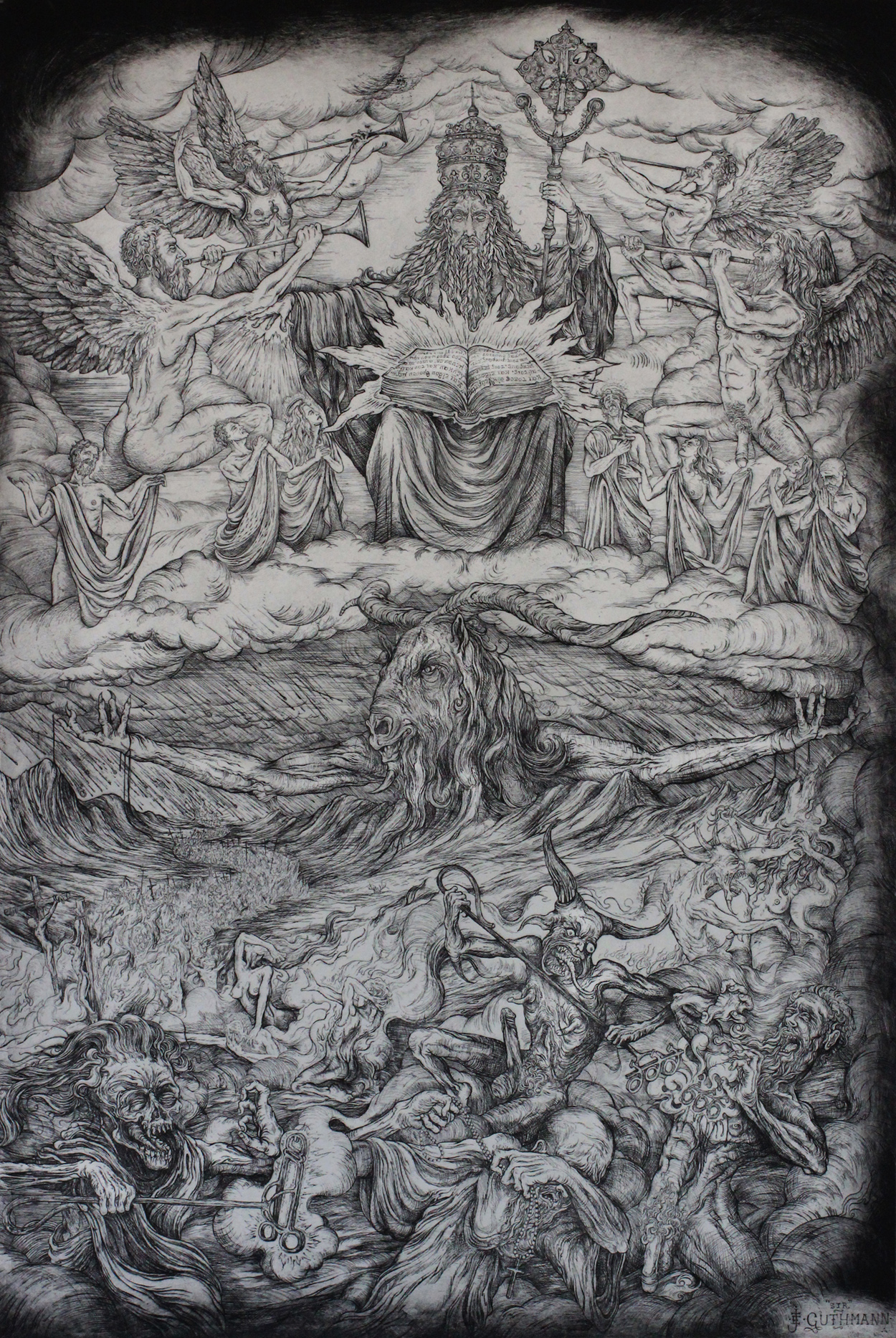 """""""the last judgment""""   etching on hahnemuhle 66 X 100cm  purchase enquiries through contact page"""