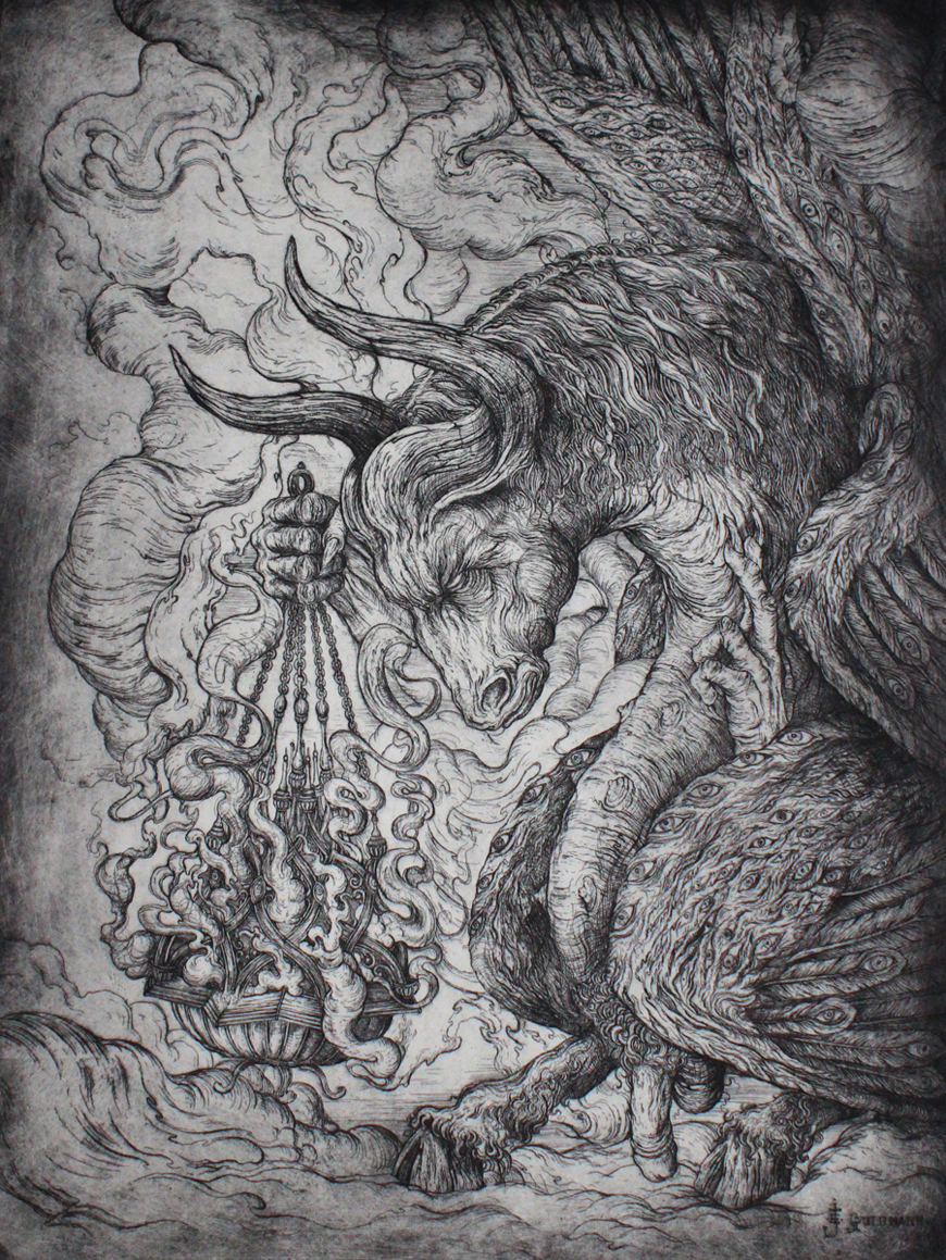 """""""The winged creature like an ox""""   etching on hahnemuhle 56 X 76cm  purchase enquiries through contact page"""
