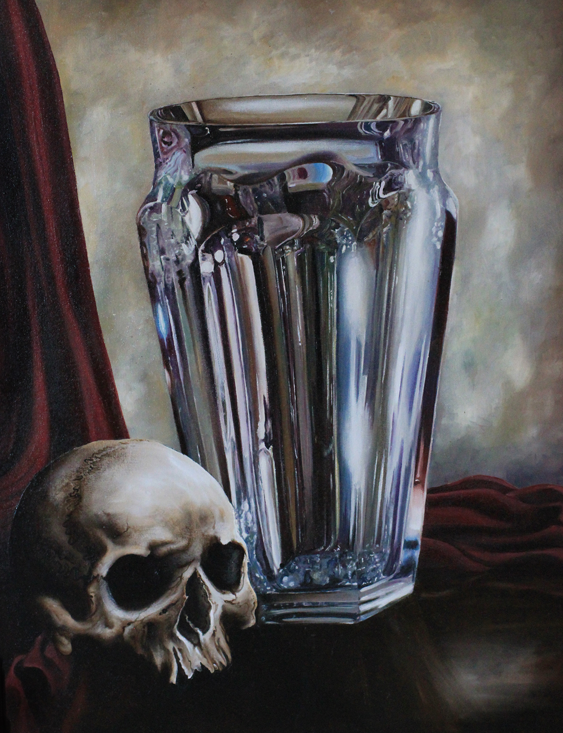 """mors iv (still life with skull and vase)""   oil on belgian linen 53 x 69cm  (sold)"