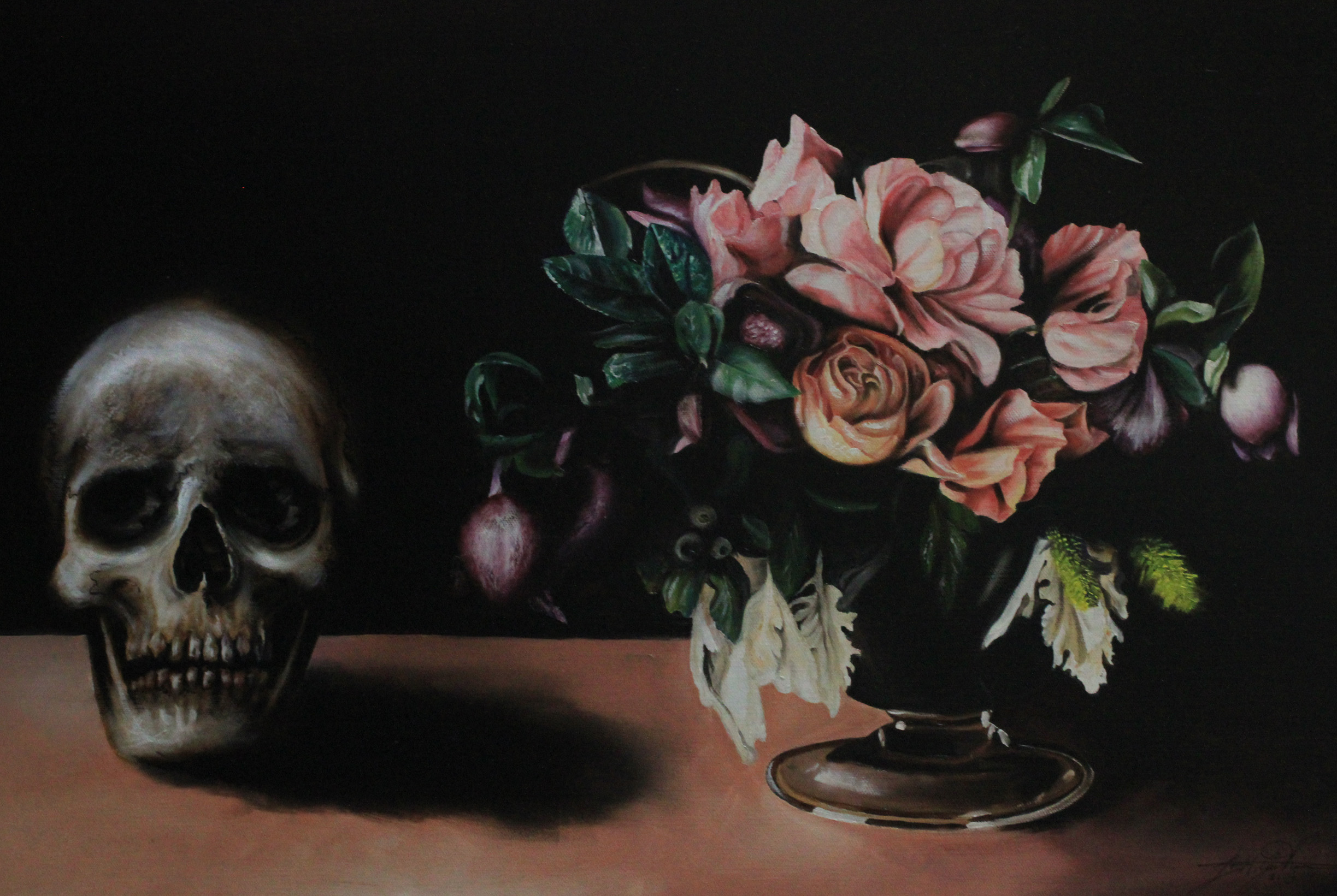 """mors vi (still life with flower arrangement)""   oil on belgian linen 66 X 90cm  enquiries through contact page"