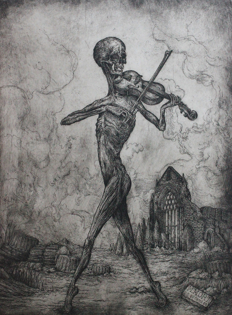 """""""MEMENTO MORI: DEATH PLAYING THE VIOLIN""""   ETCHING ON HAHNEMUHLE   AVAILABLE IN ONLINE SHOP"""