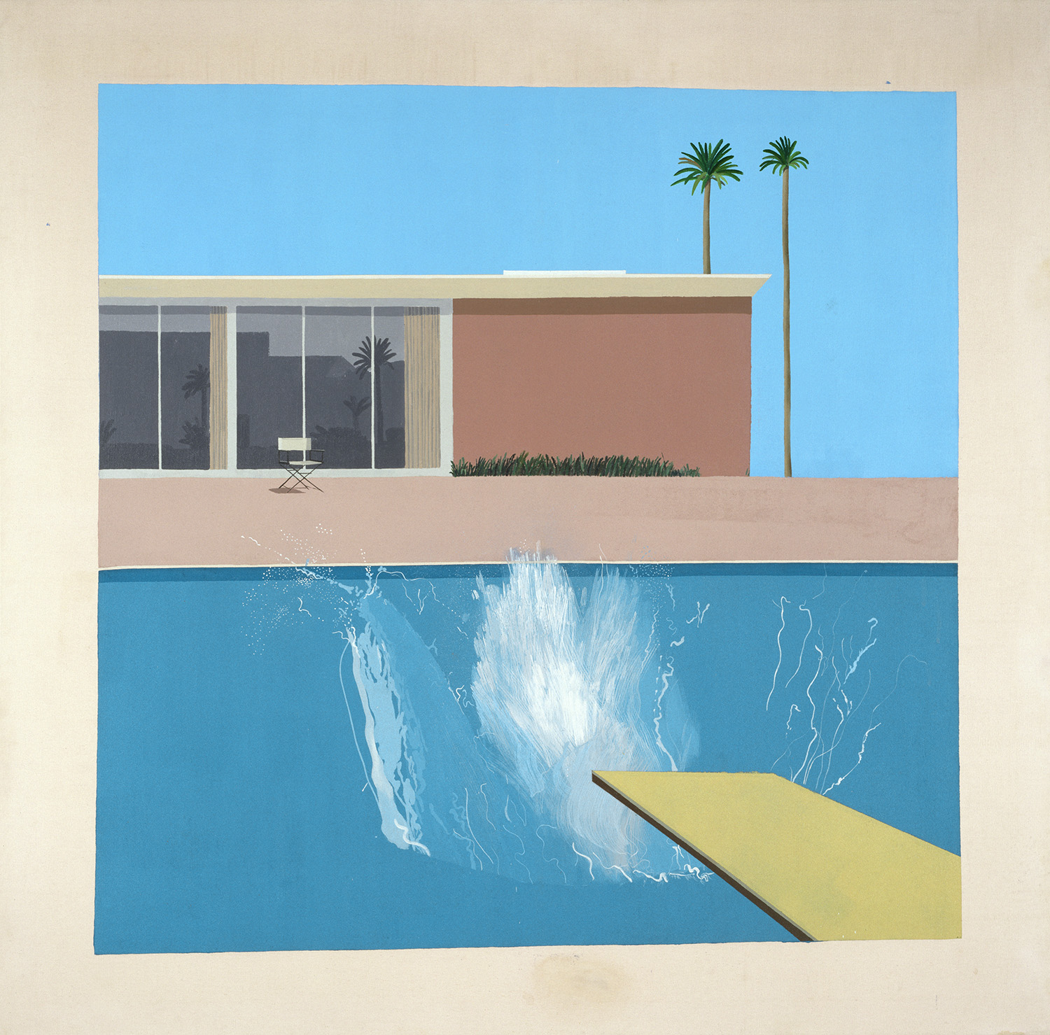 "David Hockney, ""A Bigger Splash"" 1967, Acrylic on canvas, 96 x 96"" (242.5 x 243.9 cm)  © David Hockney, Collection Tate, U.K. ©Tate, London 2019"