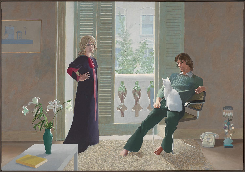 """데이비드 호크니, """"클라크 부부와 퍼시"""" 1970-1971  캔버스에 아크릴릭, 213.4 x 304.8 cm  © David Hockney, Collection Tate, U.K. ©Tate, London 2019"""