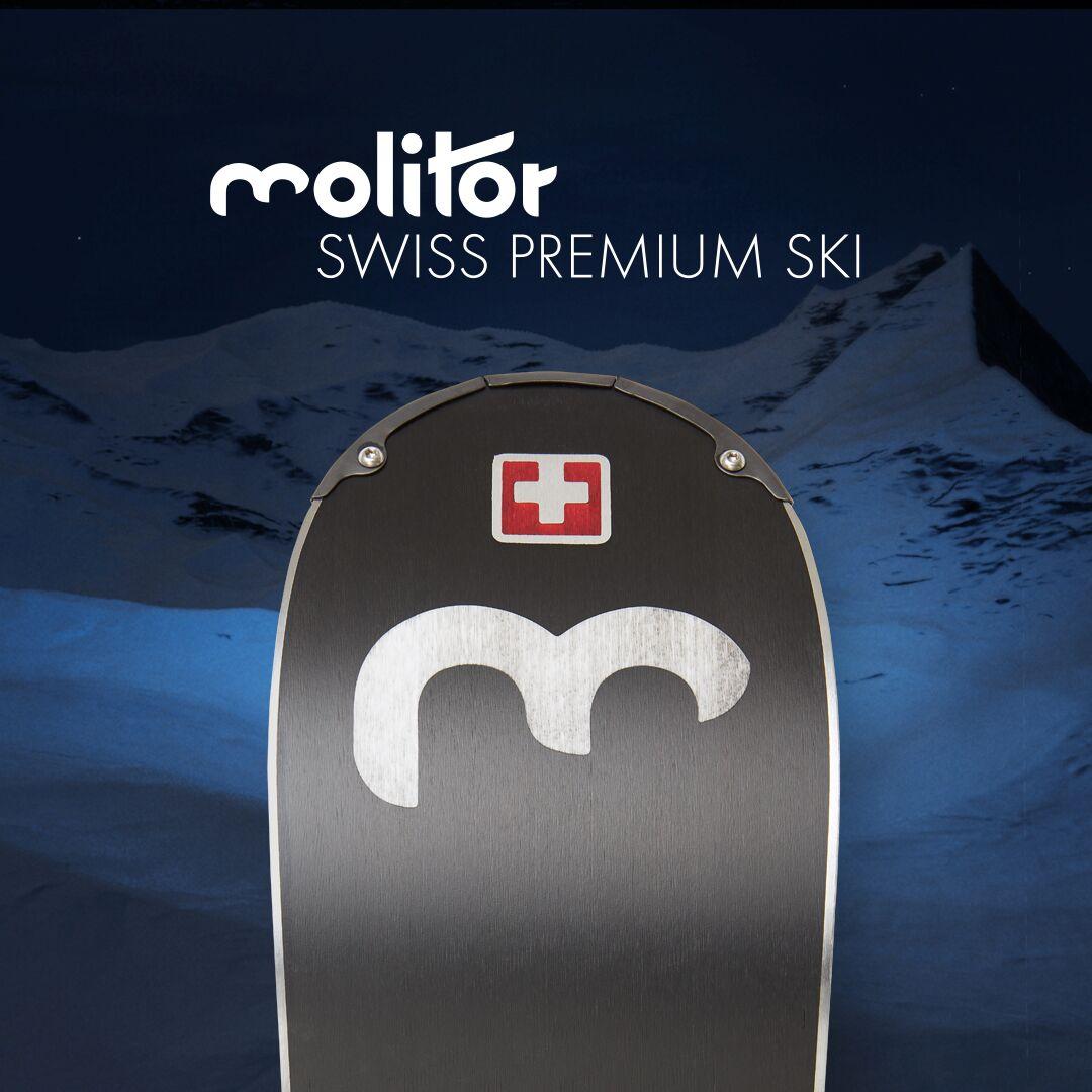 """Molitor-Made in Switzerland - Von Anfang an war uns klar, dass die Molitor Ski ausschliesslich in der Schweiz hergestellt werden sollen.In Zusammenarbeit mit den besten Ski-Experten der PSG Premium Sports Group wurden der Release R1, der Perform P2 und der Command C2 von unserem Partner Stöckli Ski entwickelt und  produziert. Die Firma Stöckli besitzt dafür die besten Materialien für die Skiherstellung und ihre Mitarbeitenden verfügen über ein hervorragendes Produktions-Knowhow.Es ist uns eine Ehre mit dem besten Schweizer Skiproduzenten zusammen zu arbeiten.""""More than legendary."""""""