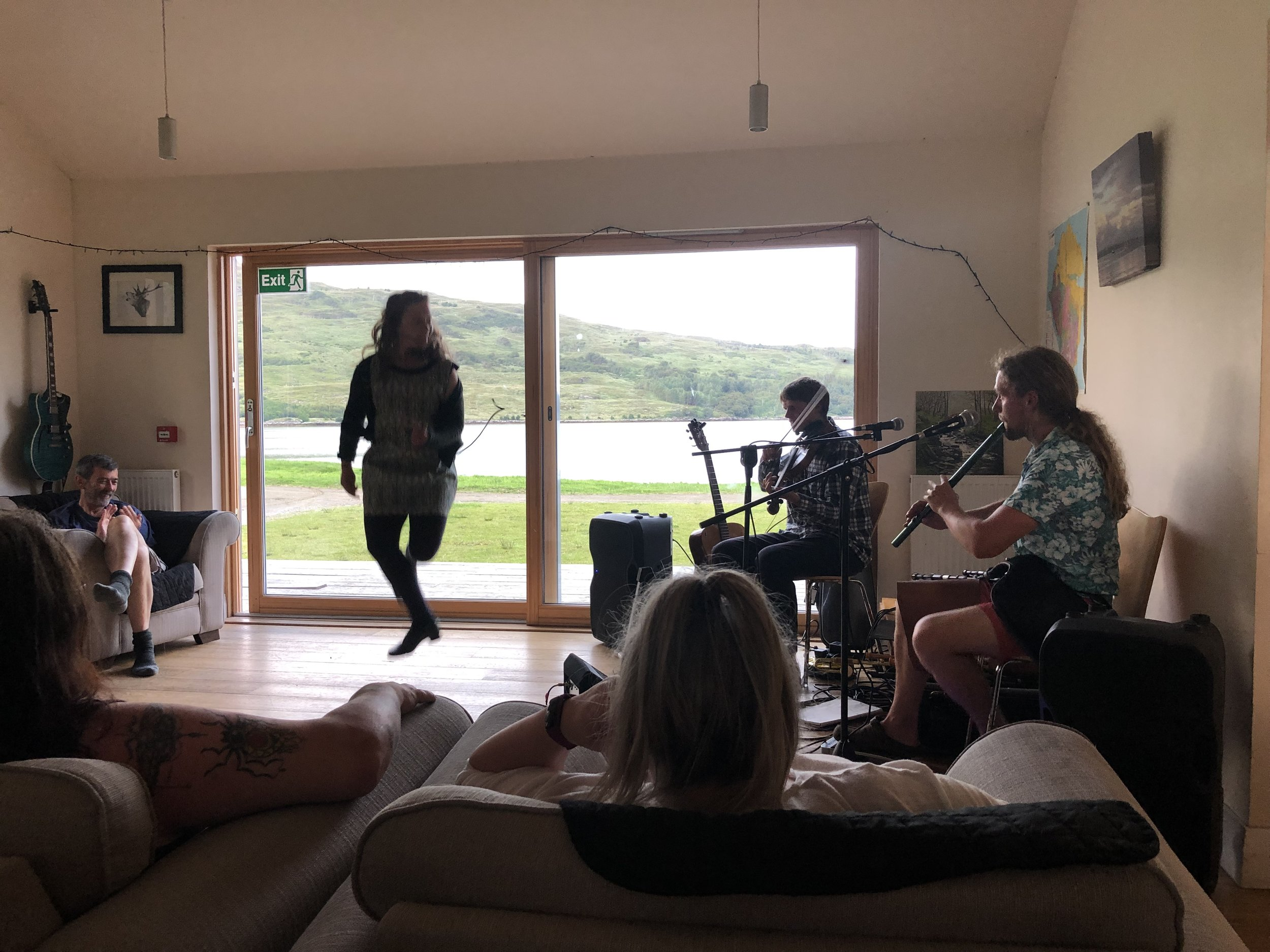 Rachel Muir wowing an intimate audience in the Isle of Rum Bunkhouse, July 2019