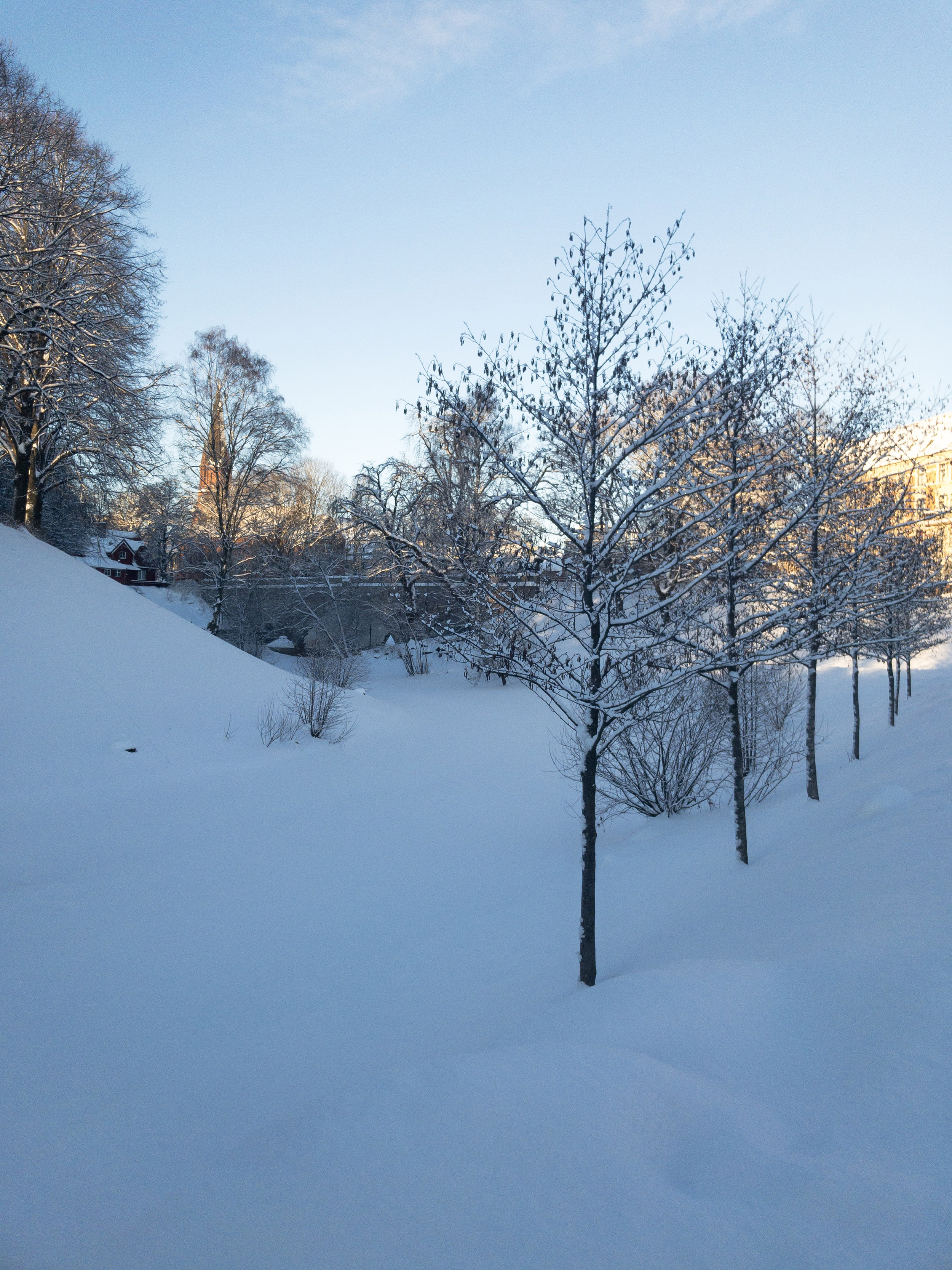Akerselva River covered in snow Oslo.JPG