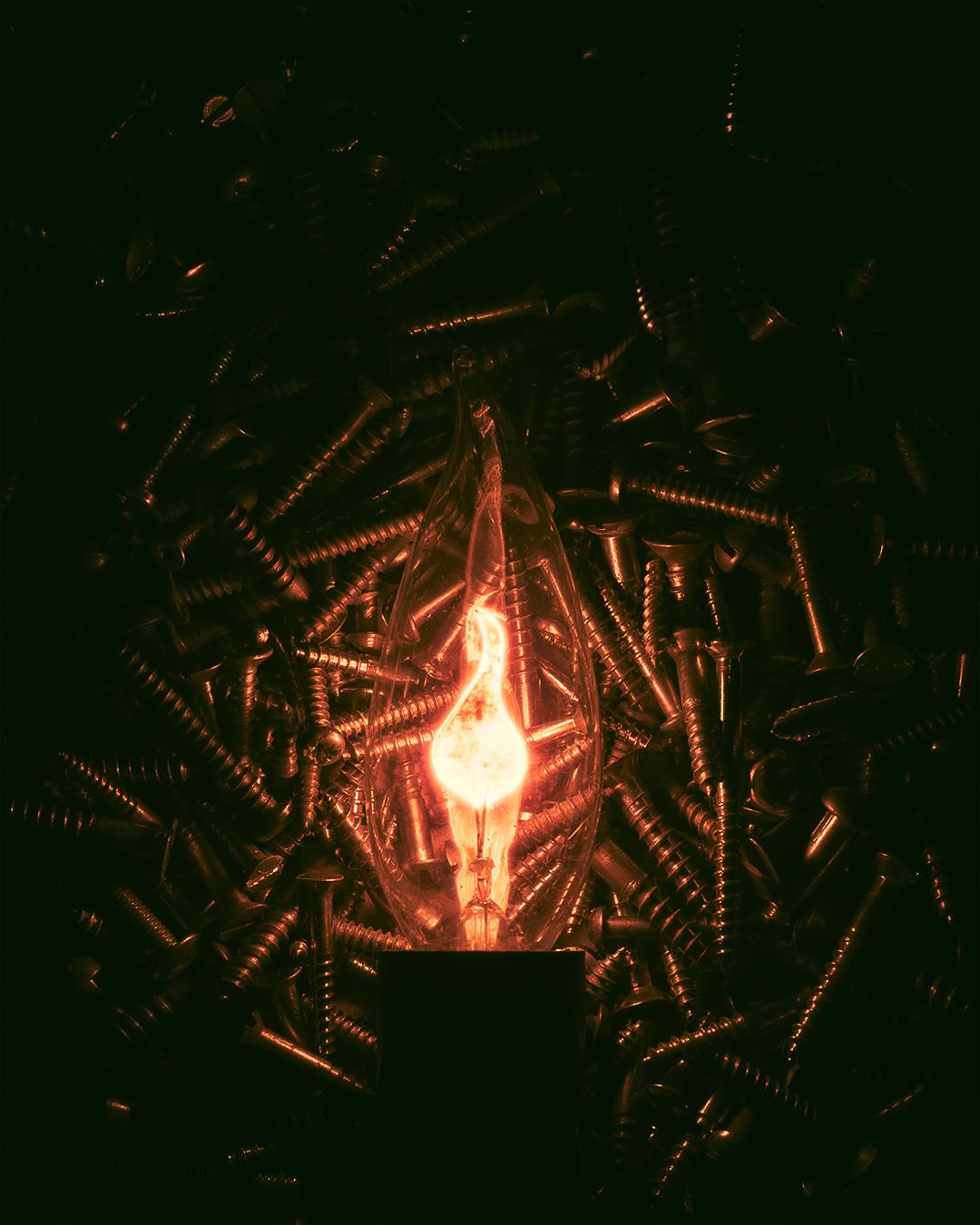 Flamme lyspære i en boks med skruer. mørk og oransj objekt fotografi. minimalistisk