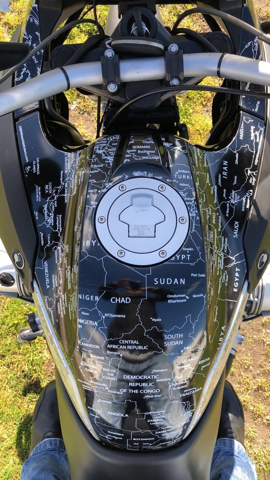 BMW R1200GS 2004 to 2007 World Stickers Full Set Black and Silver Tank view.jpg