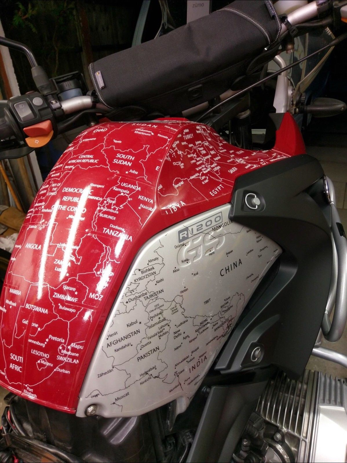 BMW R1200GS 2004 to 2007 BMW World Stickers and Decals Tank Top Aerial Full View White Map Transparent Decals On Red Bike