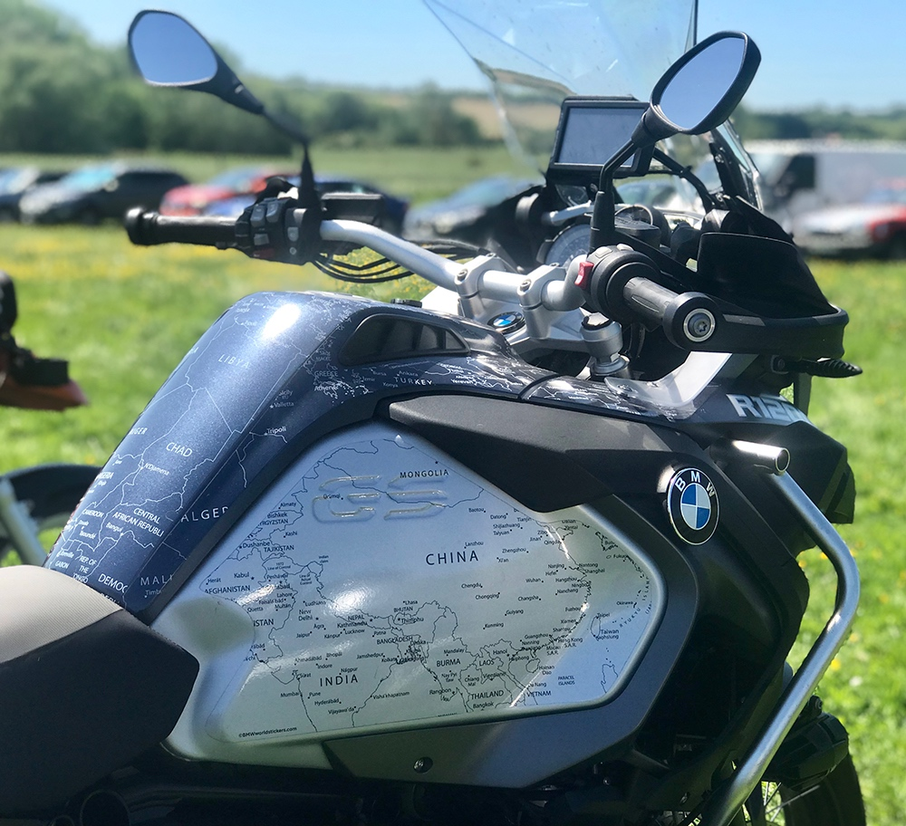 BMW R1200 1250 GS LC ADVENTURE 2014 Onwards Bmw World Stickers Side Right  View Stunning Look White Map Transparent Decals On Blue Navy Side Tanks On Black