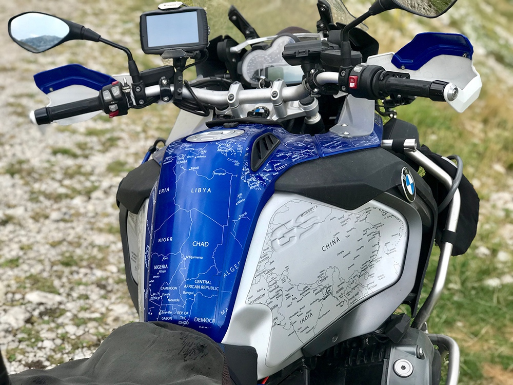 BMW R1200 1250 GS LC ADVENTURE 2014 Onwards Bmw World Stickers Whole View Bike Look White Map Transparent Decals On Blue Thumbnail