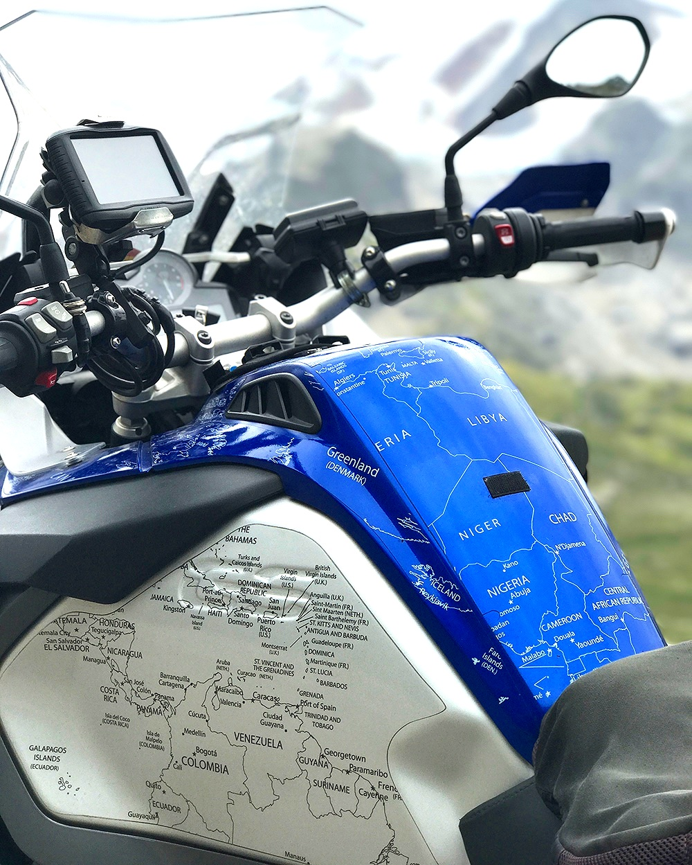 BMW R1200 1250 GS LC ADVENTURE 2014 Onwards BMW World Stickers and Decals Blue With White Map Side Tanks On Black