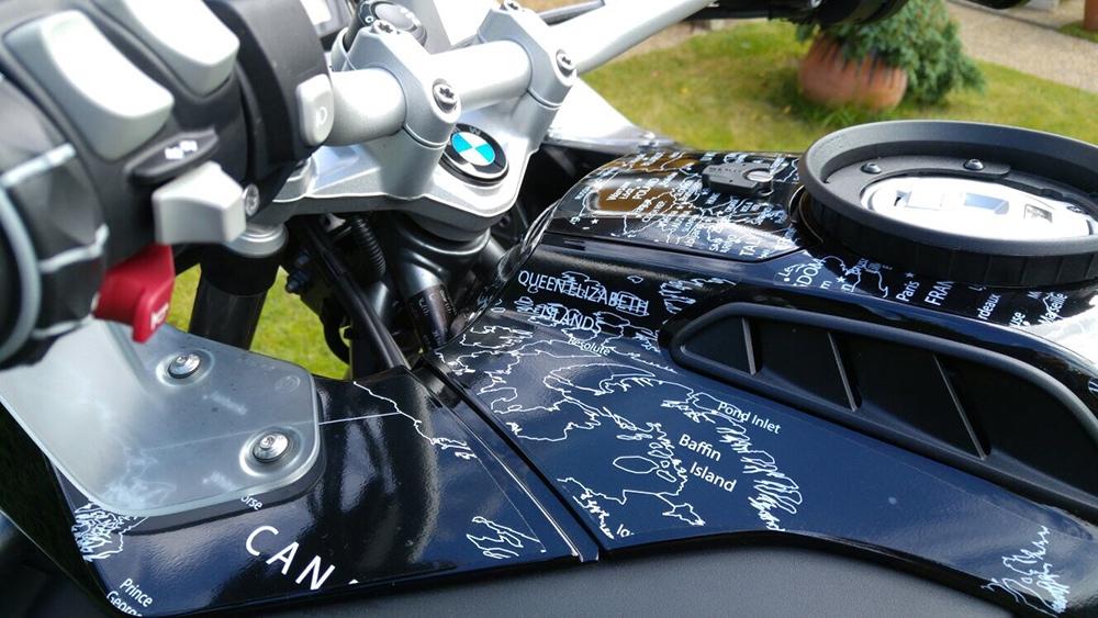 BMW R1200 1250 GS LC ADVENTURE 2014 Onwards BMW World Stickers Detail Map Decals Triple Black White Transparent World Map